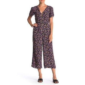 EUC Band of Gypsies Floral Short Sleeve Jumpsuit